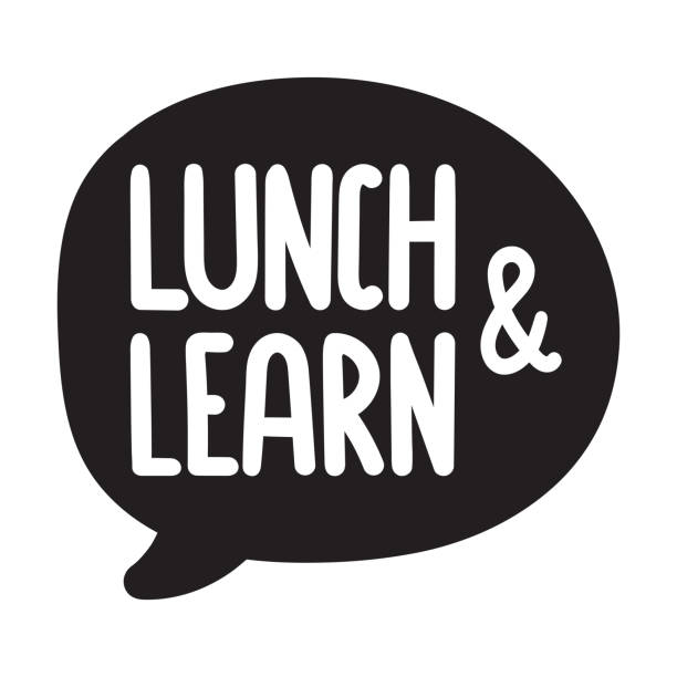 stockillustraties, clipart, cartoons en iconen met lunch en leren. vector hand getekende zeepbel pictogram spraak, badge illustratie op witte achtergrond. - lunch