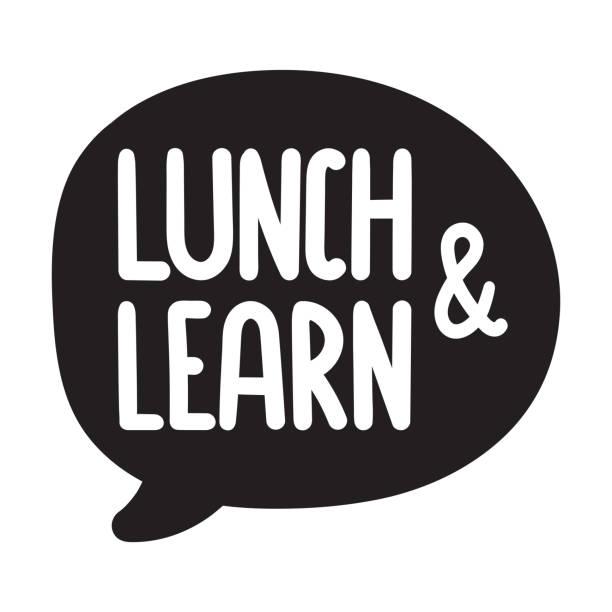 Almoço e aprender. Vector elaborado discurso bolha ícone de mão, distintivo ilustração em fundo branco. - ilustração de arte em vetor
