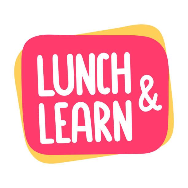 Almoço e aprender. Ilustração vetorial no fundo branco. - ilustração de arte em vetor