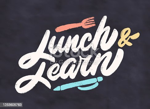 istock Lunch and learn. Vector lettering. 1253605763