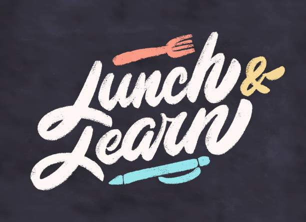 stockillustraties, clipart, cartoons en iconen met lunch en leer. vectorletters. - lunch