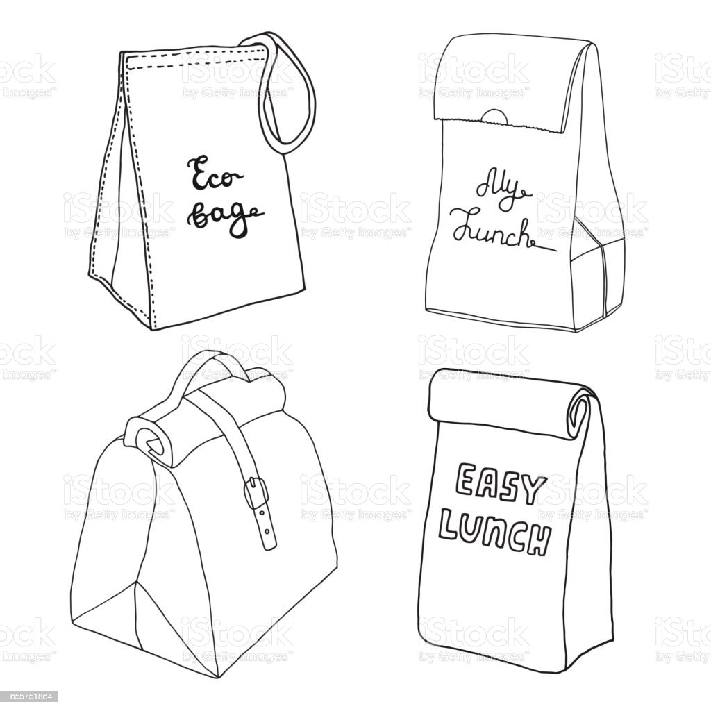 Lunch bag collection. Easy lunch box concepts. Eco bag, My lunch. Various food bags and food boxes. Hand drawn vector sketch set. vector art illustration