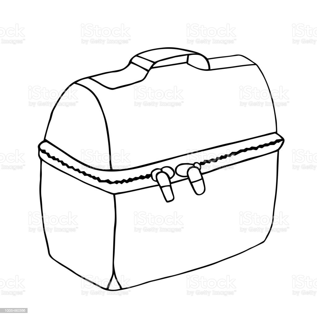 Lunch bag. Easy lunch illustration.  Lunch box with zipper. Food bag concept. Vector sketch drawing. vector art illustration