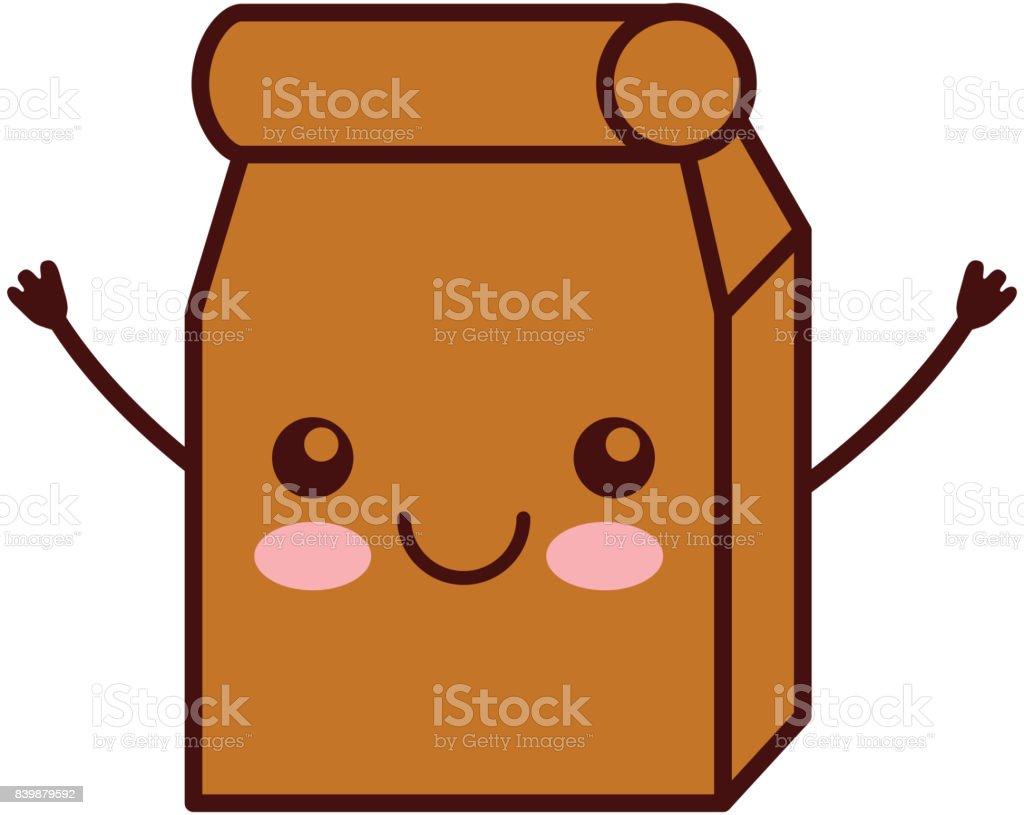 Lunch bag in paper bag kawaii character vector art illustration