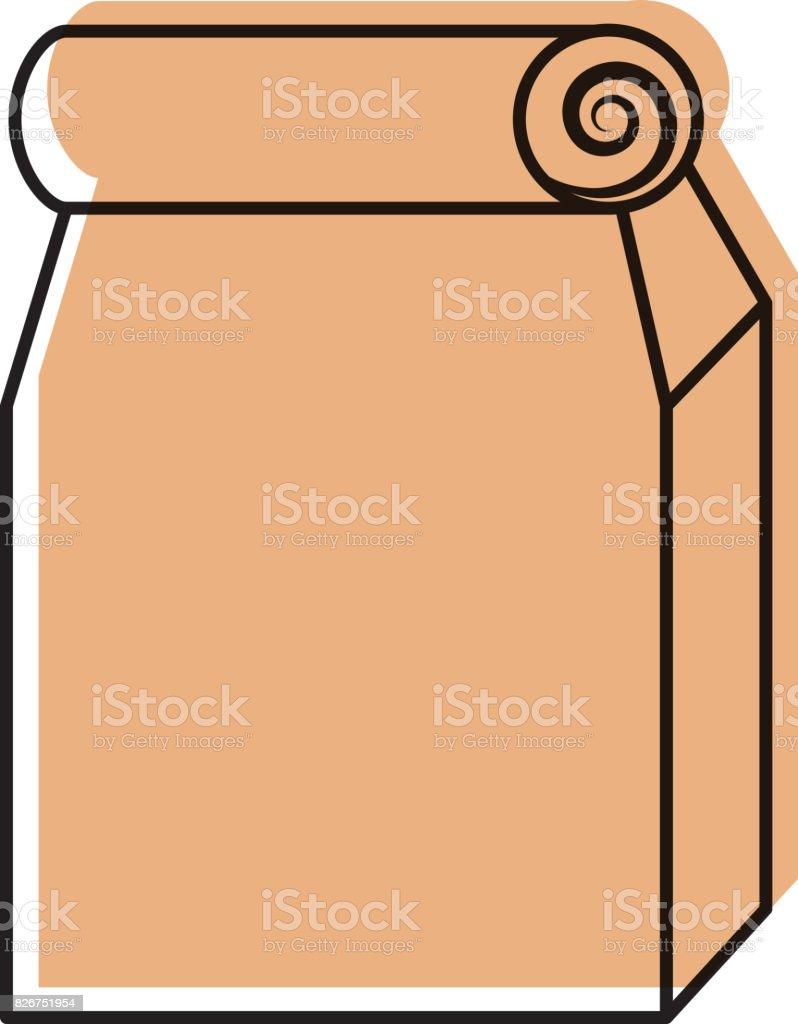 Lunch bag in paper bag vector art illustration