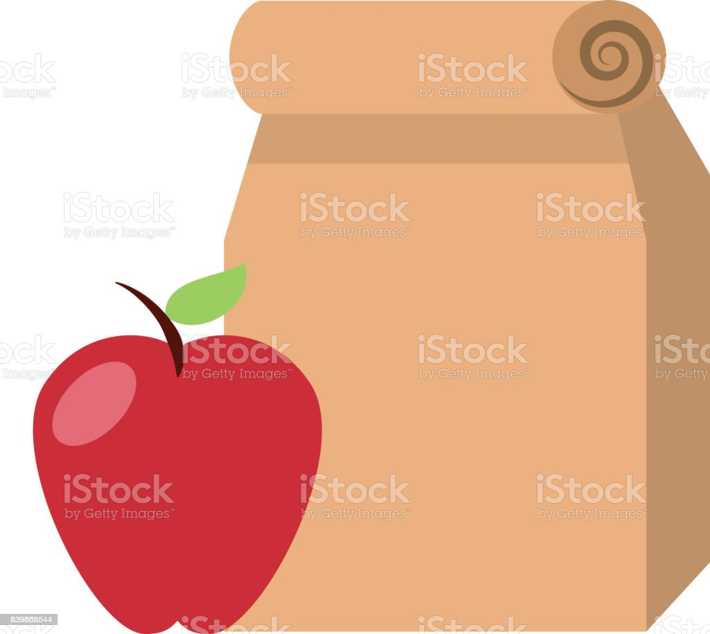 Lunch bag in paper bag with apple vector art illustration