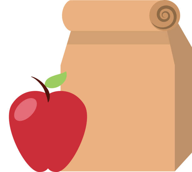 Lunch bag in paper bag with apple vector art illustration