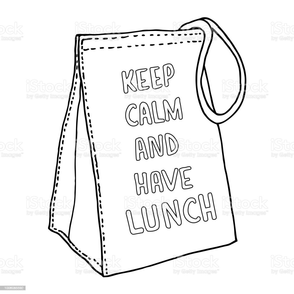 Lunch bag Keep Calm and have lunch. Hand drawn sketchy paper food bag. Vector illustration. vector art illustration