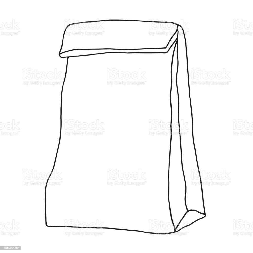 Lunch Bag Paper Container Hand Drawn Graphic Illustration Royalty Free