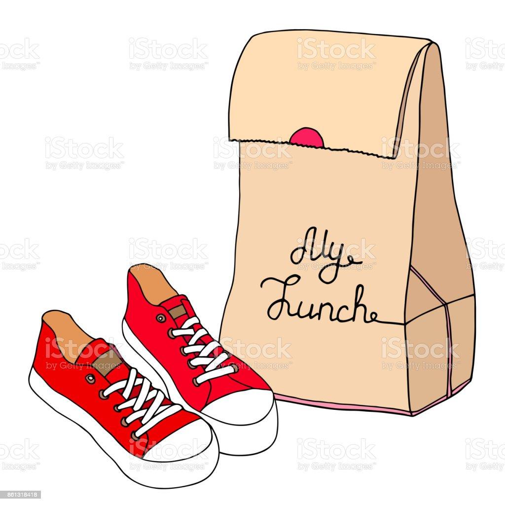 Bolsa de almuerzo con un par de zapatos de hipster. Bolsa de papel con zapatillas de deporte. Mano dibuja la ilustración vector artístico. - ilustración de arte vectorial