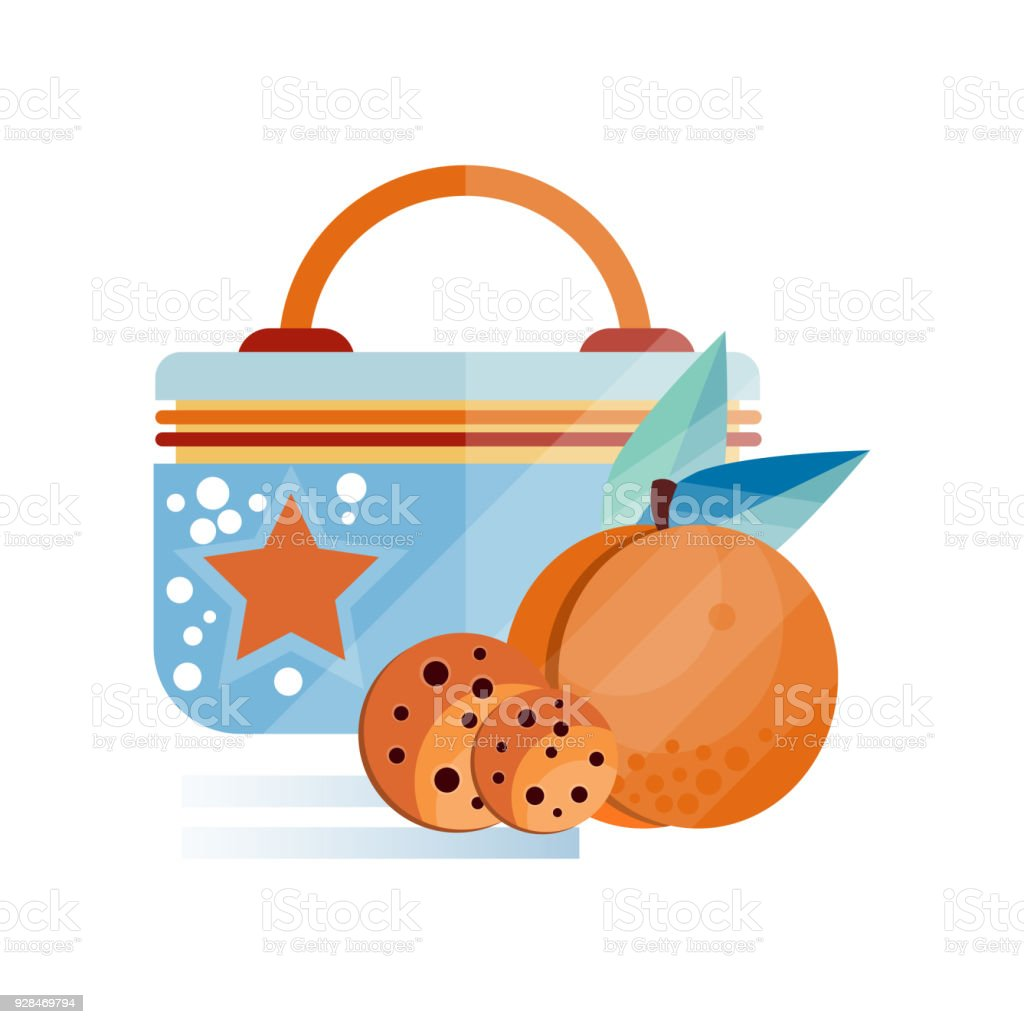 Lunch Bag With Chocolate Cookie And Peach Fruit Healthy Food For Kids Students