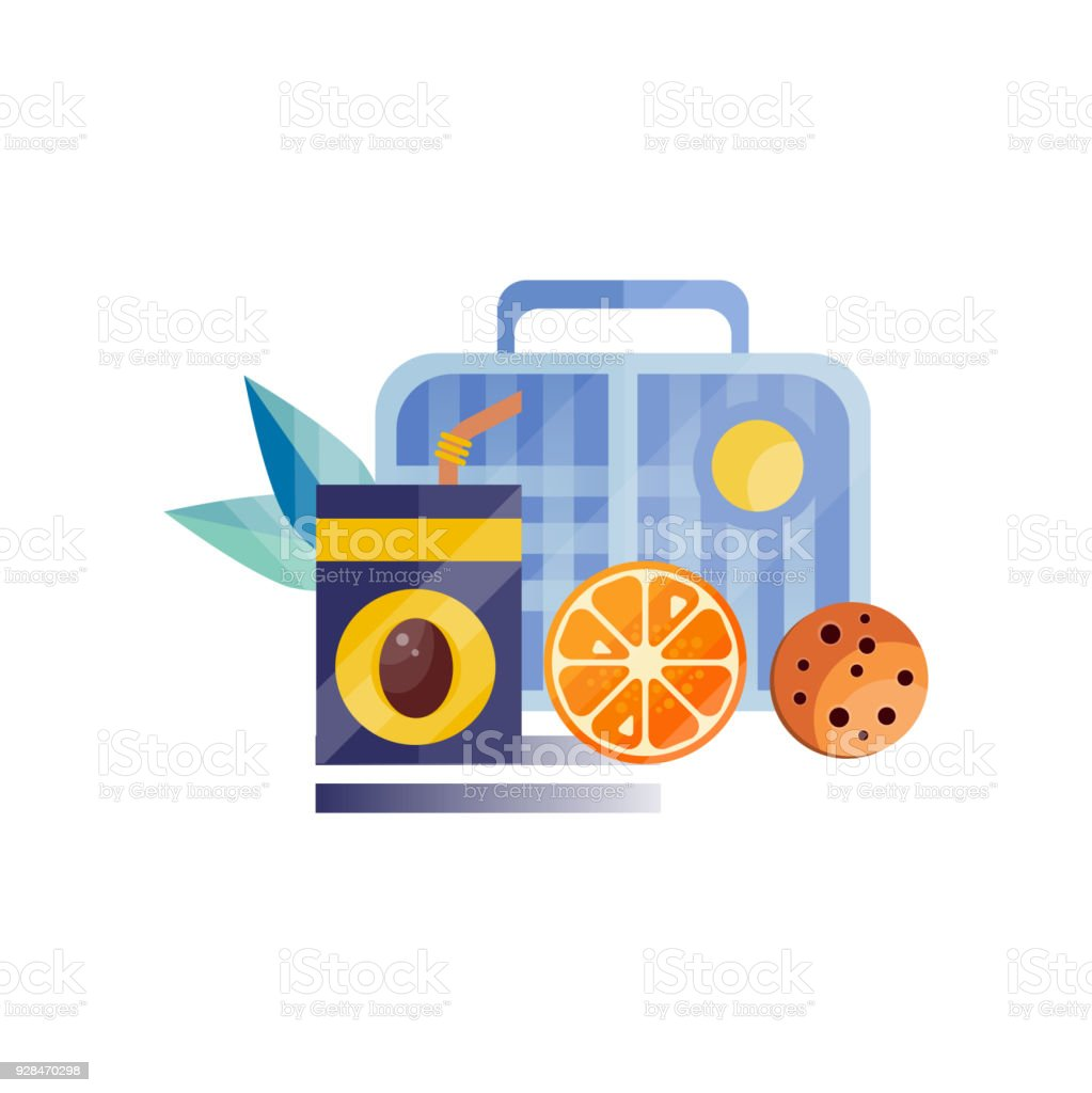 Lunch Bag With Cookie Juice And Orange Healthy Food For Kids Students