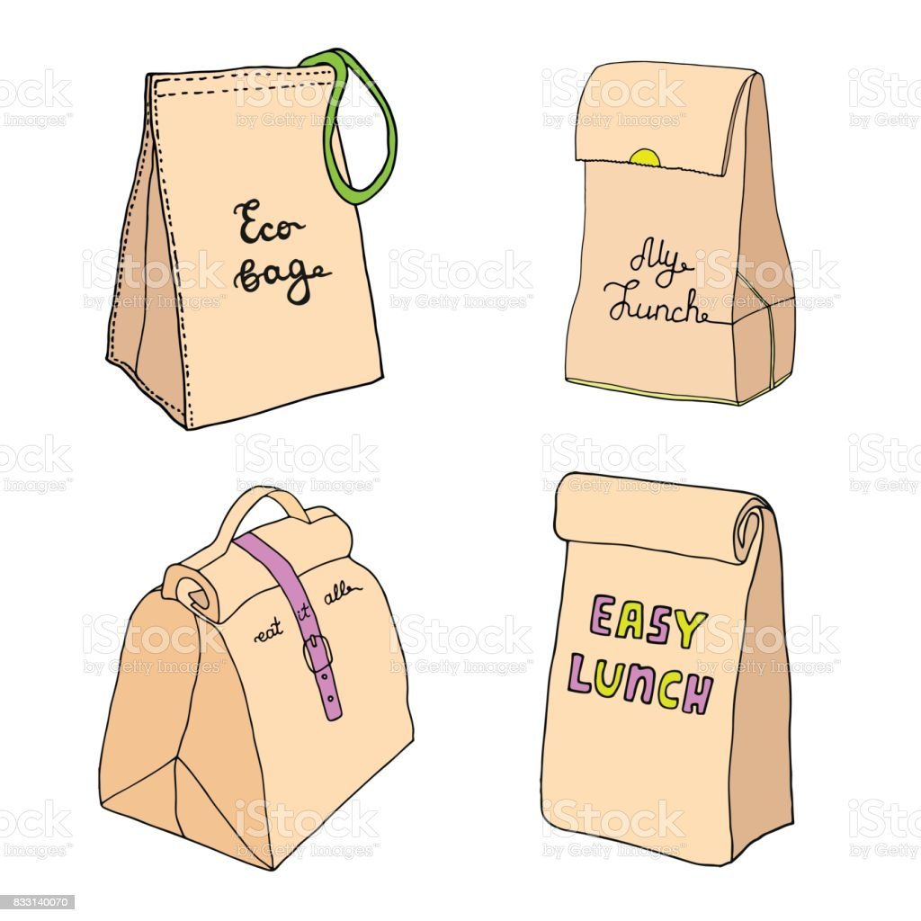 Lunch bags. Eco bag, my lunch, eat it all, easy lunch. vector art illustration