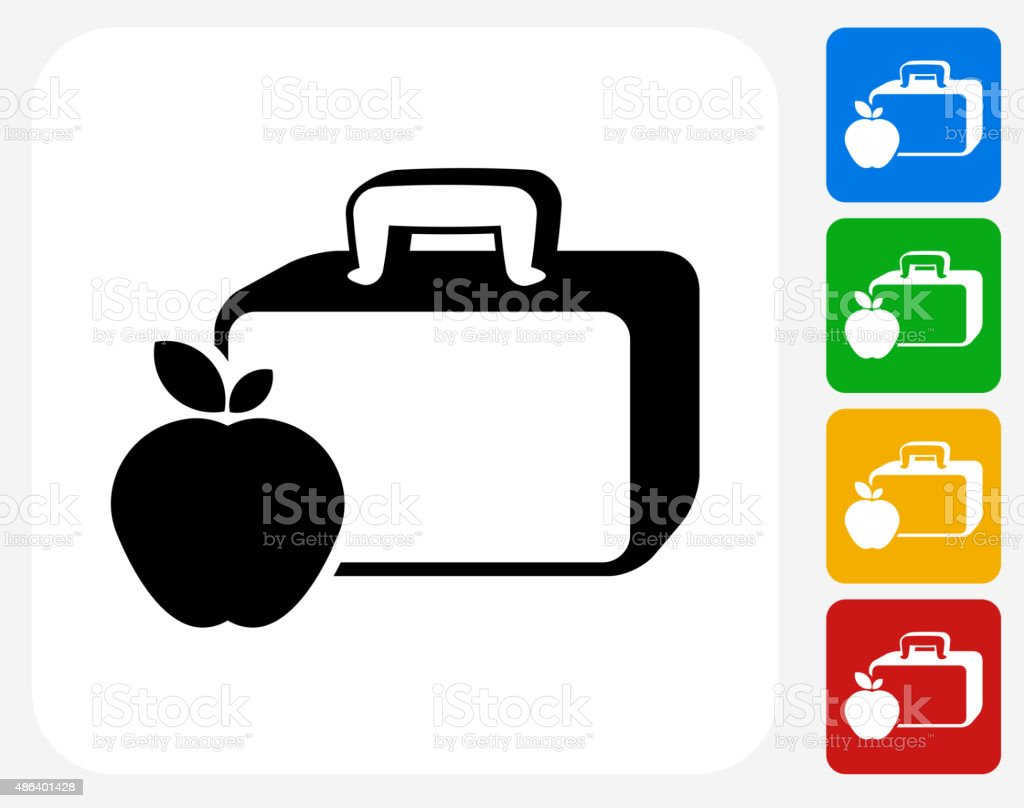 Lunch Box and Apple Icon Flat Graphic Design vector art illustration