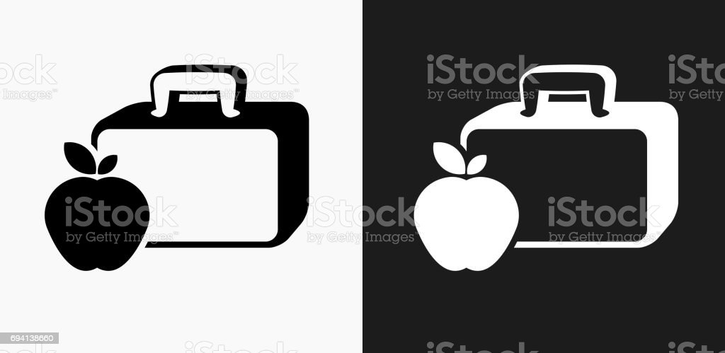 Lunch Box and Apple Icon on Black and White Vector Backgrounds vector art illustration