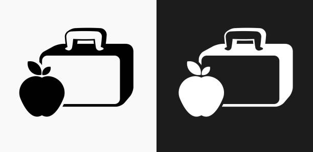 lunch box and apple icon on black and white vector backgrounds - lunch box stock illustrations, clip art, cartoons, & icons