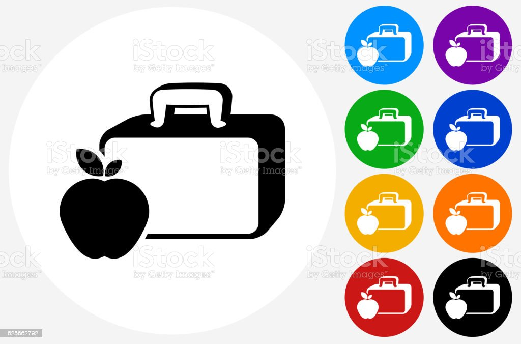 Lunch Box and Apple Icon on Flat Color Circle Buttons vector art illustration