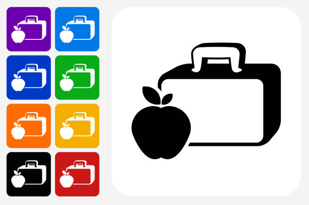 lunch box and apple icon square button set - lunch box stock illustrations, clip art, cartoons, & icons