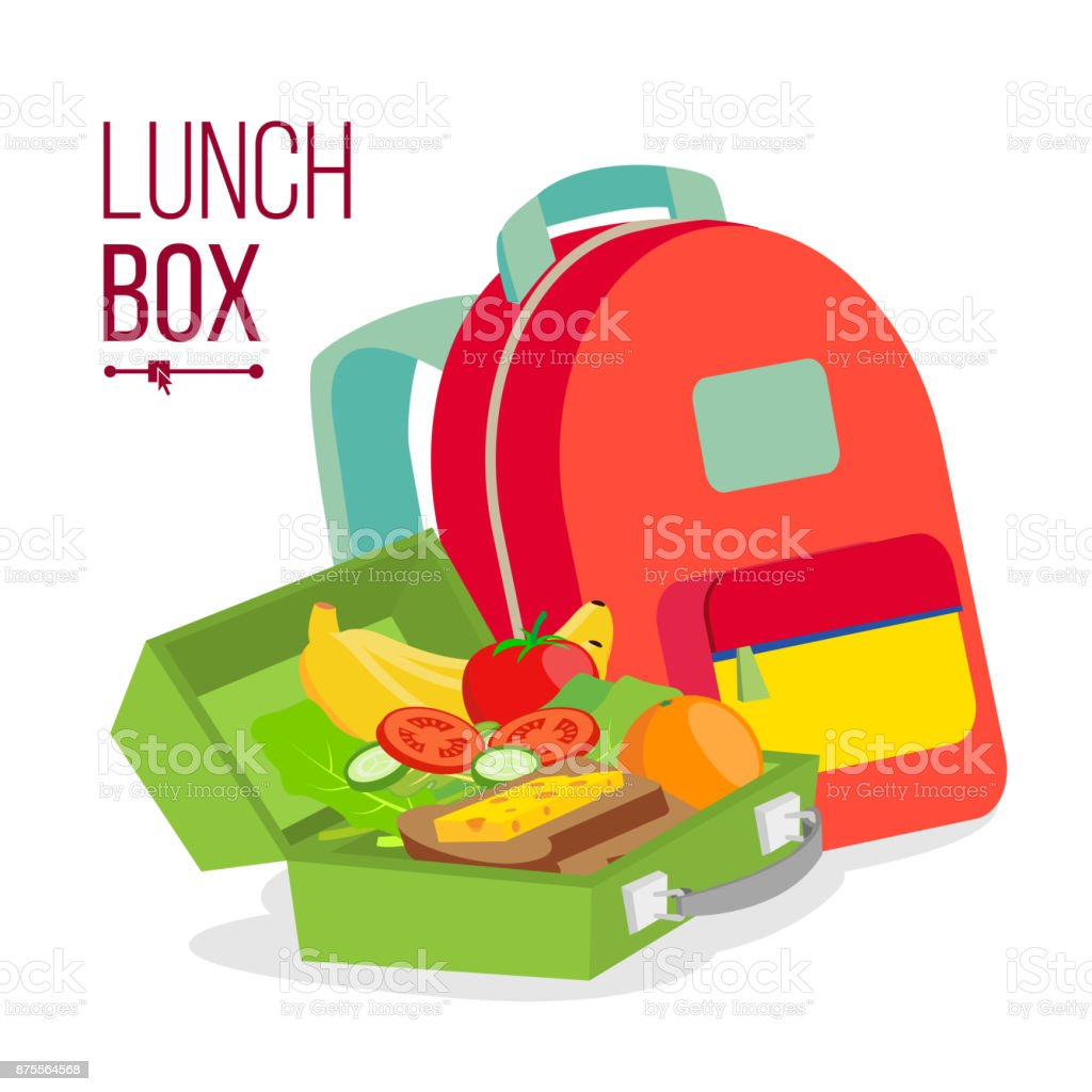 Lunch Box And Bag Vector. Healthy School Lunch Food For Kids, Student. Isolated Flat Cartoon Illustration vector art illustration