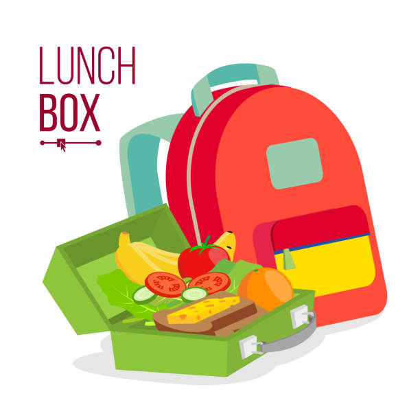 lunch box and bag vector. healthy school lunch food for kids, student. isolated flat cartoon illustration - lunch box stock illustrations, clip art, cartoons, & icons