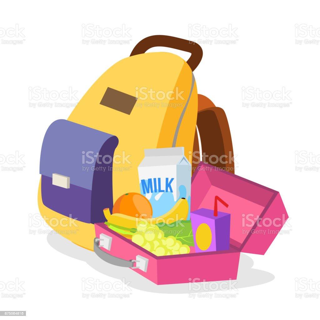 Mochila para alimentos Caja Vector niños Aislado con de almuerzo bolsa y los saludables nXzrwCBqX