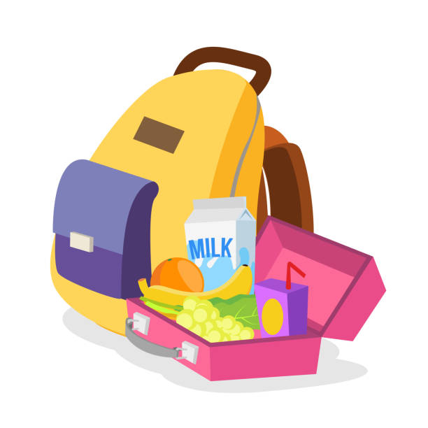 lunch box and bag vector. schoolbag with healthy food for kids. isolated flat cartoon illustration - lunch box stock illustrations, clip art, cartoons, & icons