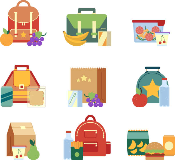 lunch box and bag with healthy food for kids. vector illustrations in flat style - lunch box stock illustrations, clip art, cartoons, & icons