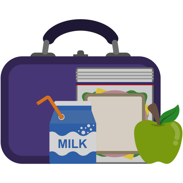 lunch box and food illustration - lunch box stock illustrations, clip art, cartoons, & icons