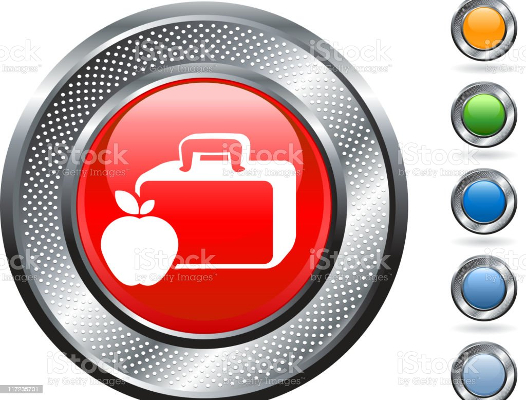 lunch box & apple icon on metallic button royalty-free stock vector art