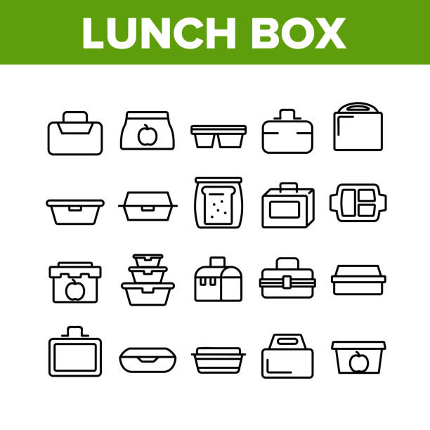Lunch Box Collection Elements Icons Set Vector Lunch Box Collection Elements Icons Set Vector Thin Line. Plastic School Lunch Box And Container For Transportation Nutrition Concept Linear Pictograms. Monochrome Contour Illustrations snack stock illustrations