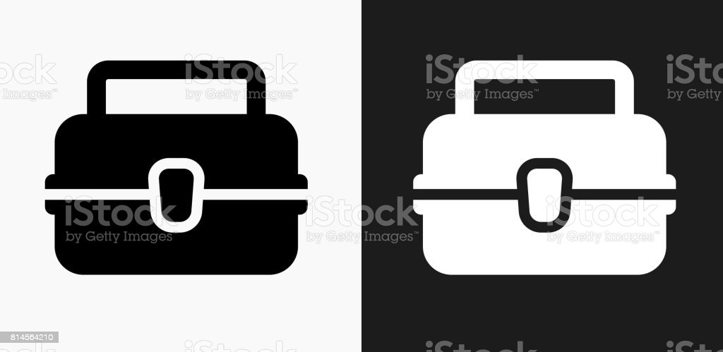 Lunch Box Icon on Black and White Vector Backgrounds vector art illustration