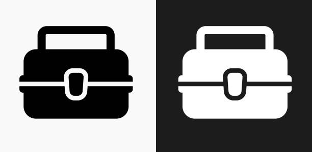 lunch box icon on black and white vector backgrounds - lunch box stock illustrations, clip art, cartoons, & icons