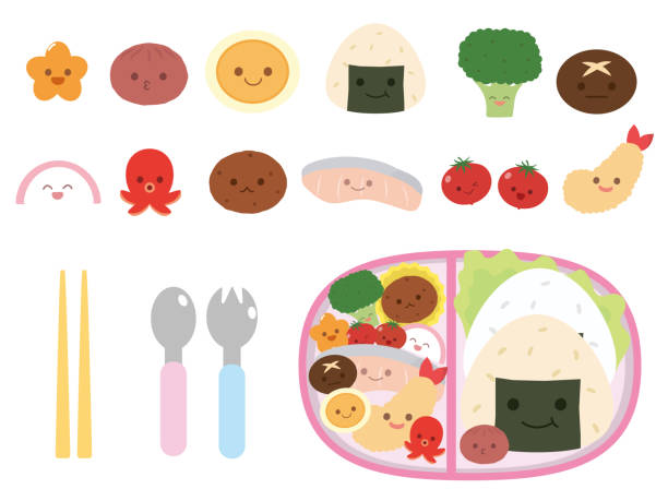 lunch box set1 - cherry tomato stock illustrations