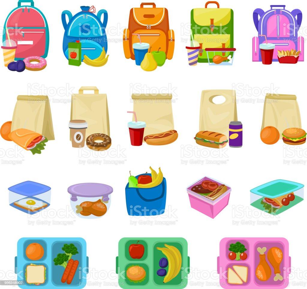Caja de almuerzo escuela vector lonchera con alimentos sanos frutas o verduras en caja en conjunto de ilustración niños envase de salchichas llenas de comida o pan aislado en fondo blanco - ilustración de arte vectorial