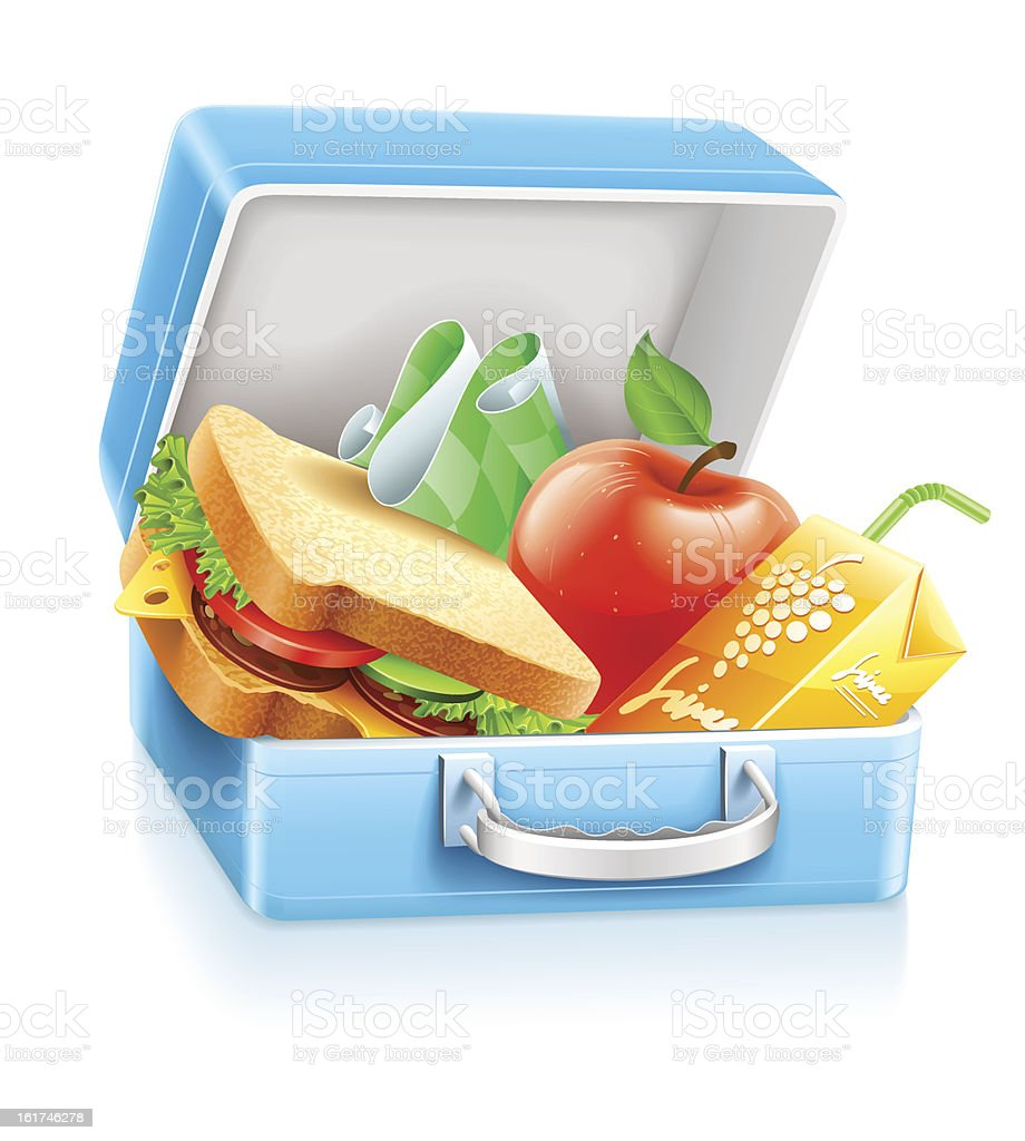 lunch box with sandwich apple and juice vector art illustration