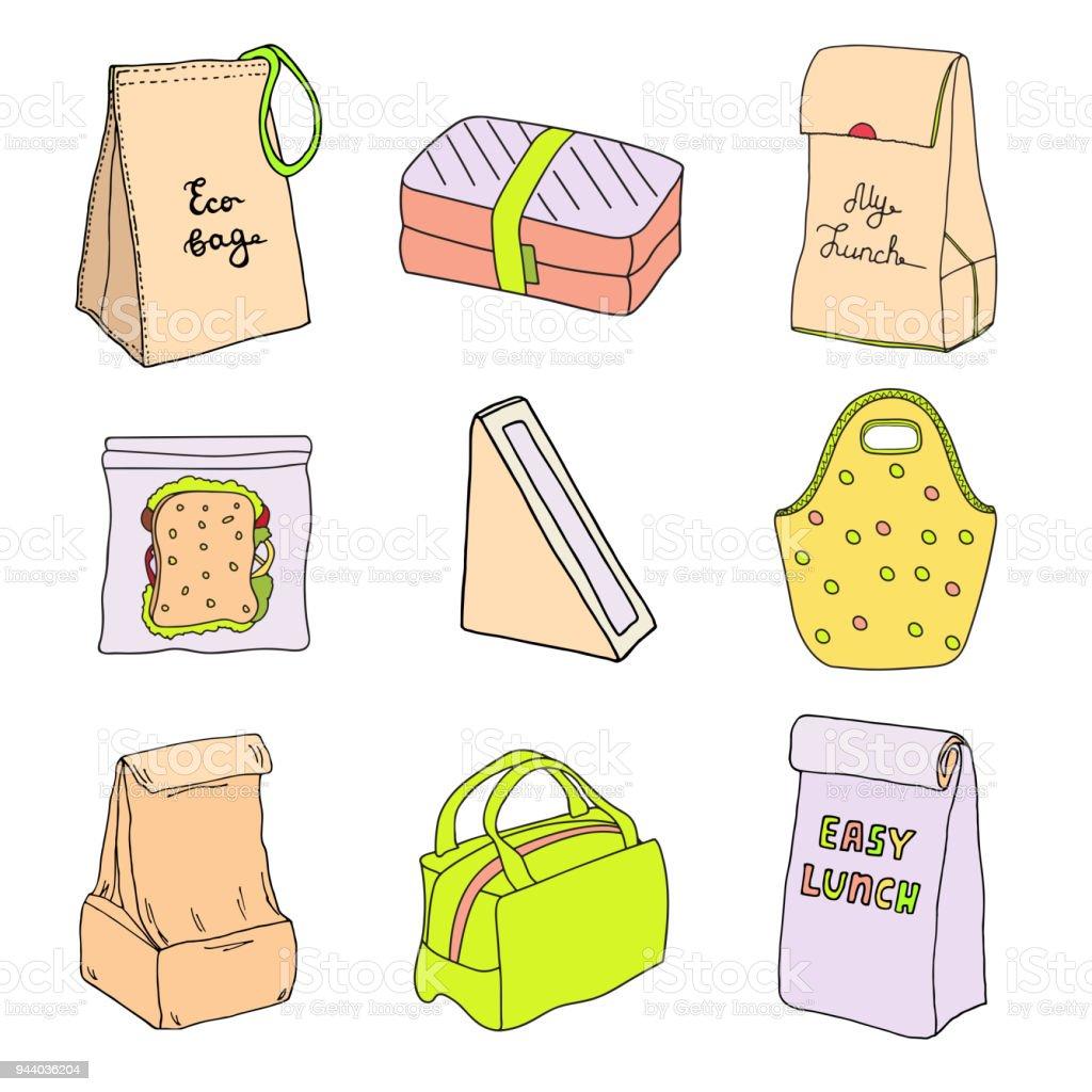 Set cajas de almuerzo y loncheras. Sandwich triángulo caja de cartón con ventana, eco bolso, caja del emparedado, almuerzo fácil. Ilustración de vector dibujado a mano dibujo - ilustración de arte vectorial