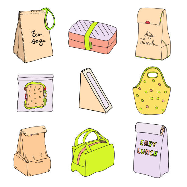 lunch boxes and lunch bags set. sandwich triangle cardboard box with window, eco bag, sandwich box, easy lunch. vector hand drawn sketch illustration - lunch box stock illustrations, clip art, cartoons, & icons