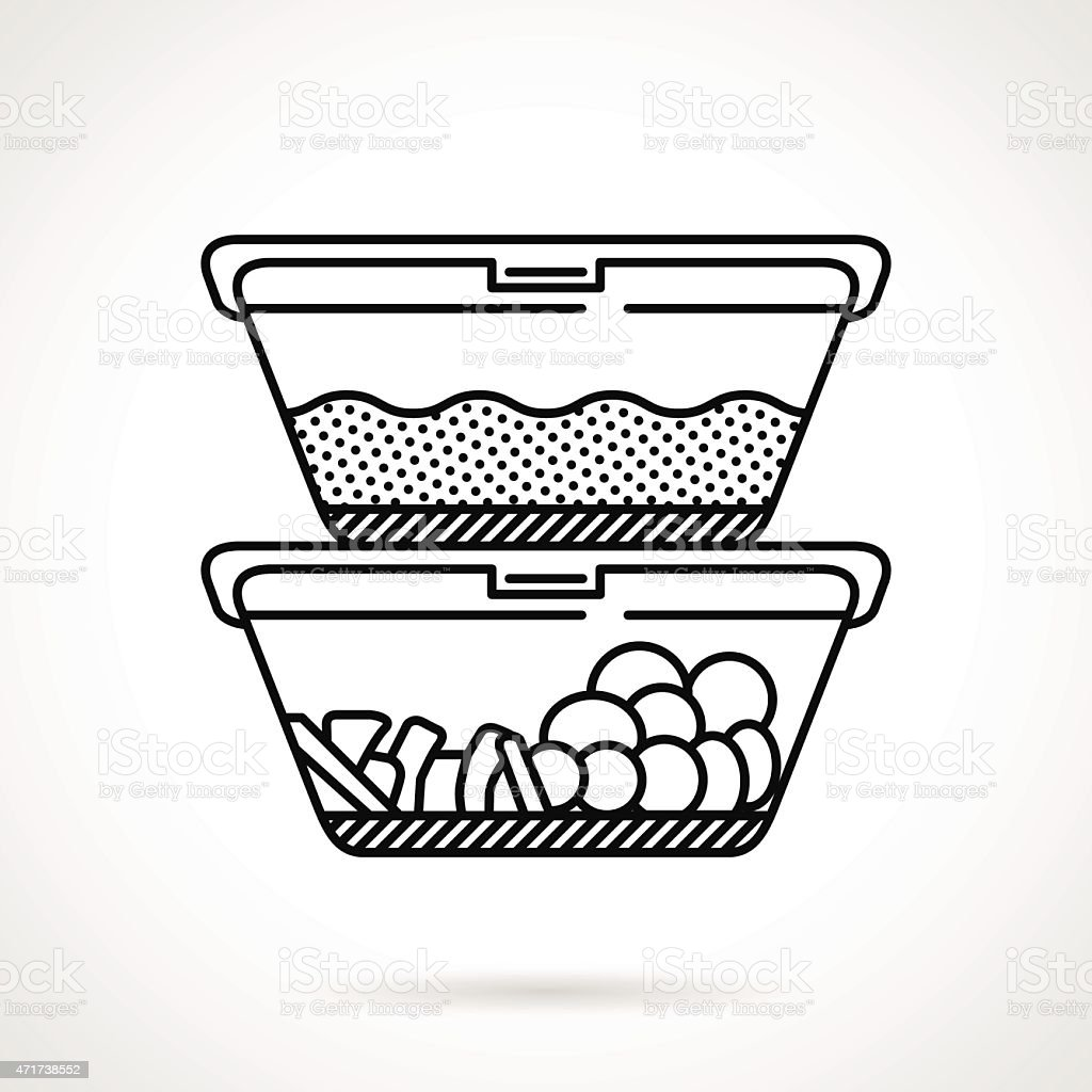 Lunch boxes black line vector icon vector art illustration