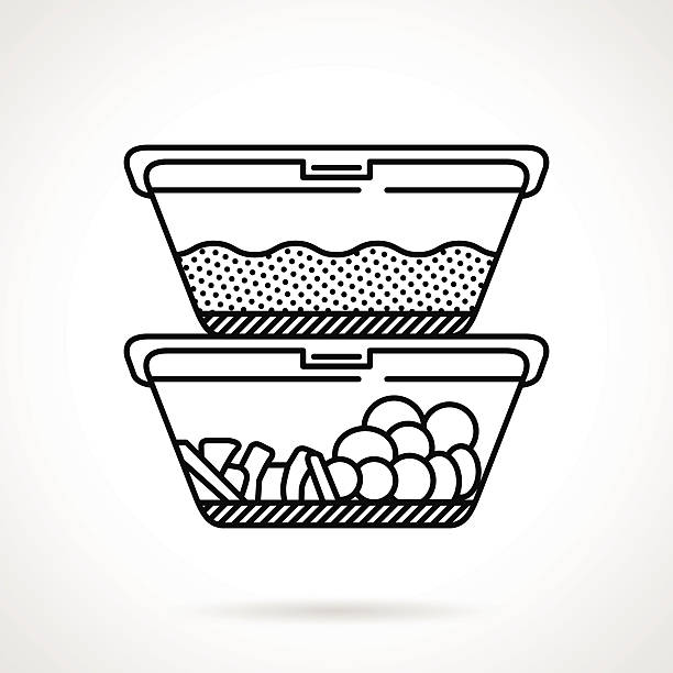 lunch boxes black line vector icon - lunch box stock illustrations, clip art, cartoons, & icons