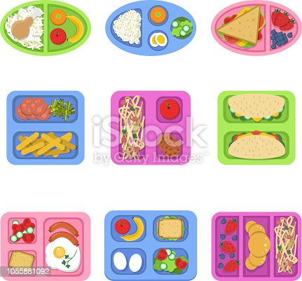 Lunch boxes. Food containers with fish, meal eggs sliced fresh fruits vegetables sandwich for kids breakfast. Vector flat illustrations. Container food for sandwich and snack
