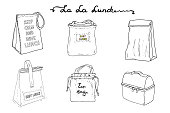 Lunch boxes, lunch bags set. La la lunch vector sketch  illustration collection. Hand drawn clip art bags with inscriptions