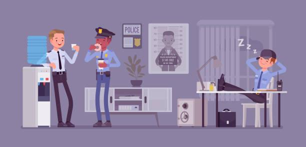 illustrations, cliparts, dessins animés et icônes de pause déjeuner au poste de police - bureau police