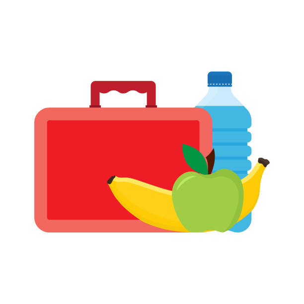lunch break or lunch time. lunch box with school lunch - lunch box stock illustrations, clip art, cartoons, & icons