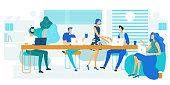 Lunch Break, Rest Time Flat Vector Illustration. Young Programmers, Colleagues Cartoon Characters. Coworkers Drink Coffee in Conference Room, Lounge Zone. Male and Female Office Workers with Laptops