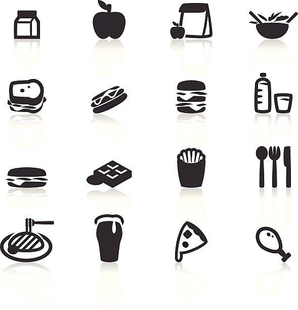 Lunch icon Vector File of Lunch Icon with Reflect female sandwich stock illustrations