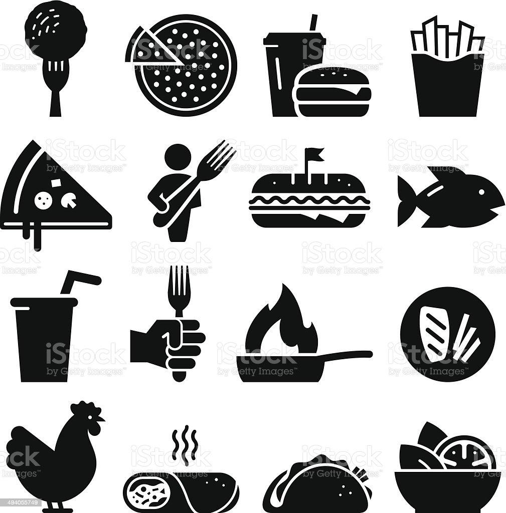 昼食のアイコン-ブラックシリーズ ベクターアートイラスト