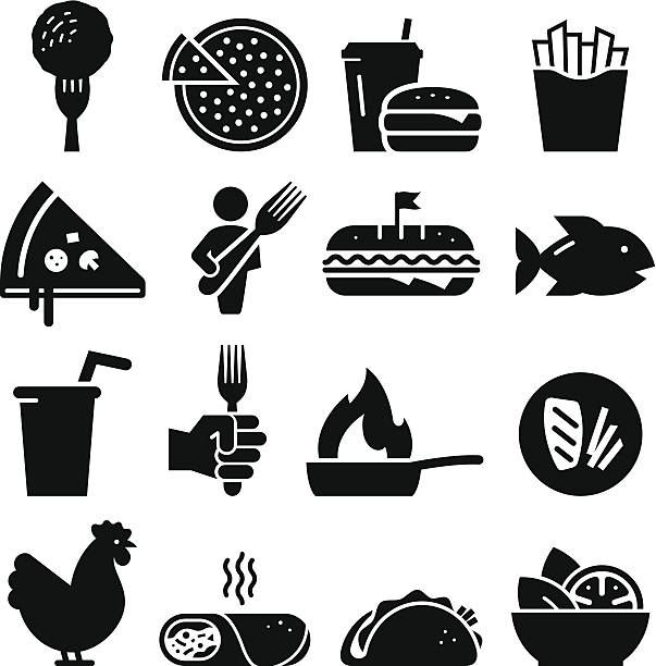 stockillustraties, clipart, cartoons en iconen met lunch icons - black series - meat pan