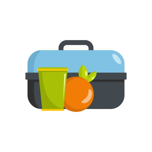 lunch in box icon, flat style - lunch box stock illustrations, clip art, cartoons, & icons