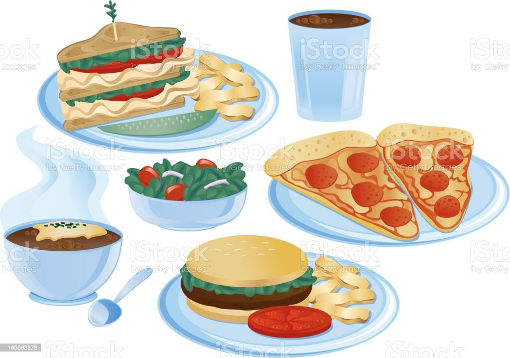 Lunch items royalty-free stock vector art