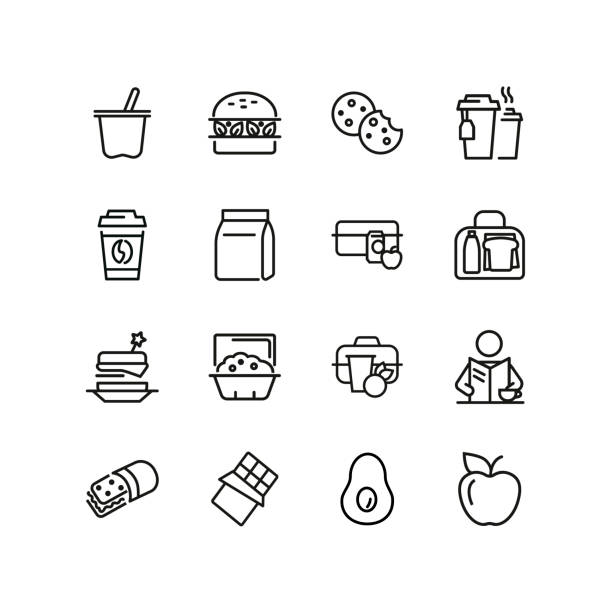 stockillustraties, clipart, cartoons en iconen met lunch lijn icon set - lunch